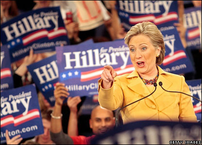 Senator Hillary Clinton speaks to her supporters