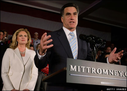Republican Mitt Romney and his wife Ann
