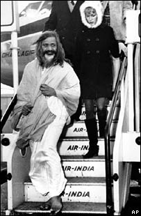 Maharishi Mahesh Yogi and Mia Farrow, Heathrow airport London,  24 Jan 1968