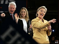 Bill, Chelsea and Hillary Clinton at her Super Tuesday night rally
