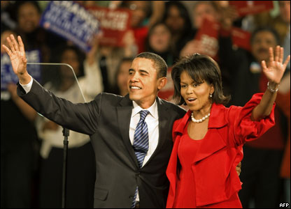 Senator Barack Obama and his wife Michelle in Chicago