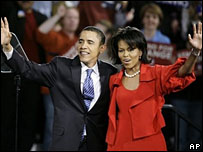 Barack Obama and wife Michelle at his election night rally in Illinois