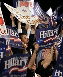 Hillary Clinton supporters at her election night rally in New York