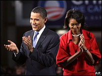 Barack Obama and wife Michelle at his election night rally in Chicago