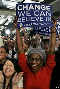 Supporters of Barack Obama at his election night rally in Chicago