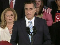 Mitt Romney addresses his supporters