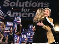 Hillary Clinton hugs Chelsea