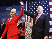 John McCain and wife Cindy at his election night rally in Phoenix, Arizona