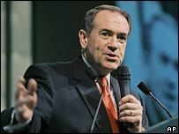 Mike Huckabee at his election night rally in Little Rock, Arkansas