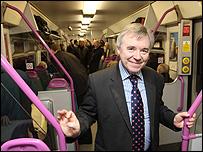 Transport minister Ieuan Wyn Jones after arriving in Cardff