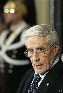 Franco Marini, vocero del Senado italiano, encargado del gobierno interino