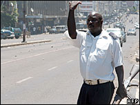 A policeman on a street of Mozambique's capital, Maputo, on the day of protests over bus fares