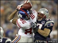 David Tyree of the New York Giants makes a crucial catch