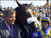 Sir Michael Stoute and Kieren Fallon with Kings Best, the 2000 Guineas winner in 2000