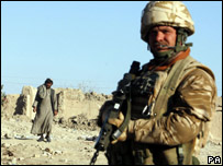 A British soldier on patrol in the Afghan town of Musa Qa'la (file photo)