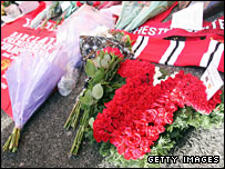 Flowers laid at Old Trafford to remember the victims of the Munich air disaster