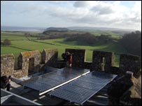 Solar Panels on Dunster Castle's roof