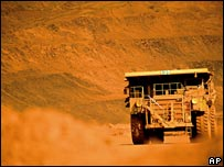 A truck at the BHP iron ore mine at Mt Whaleback in Western Australia