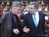 President Karzai and Gordon Brown (file)