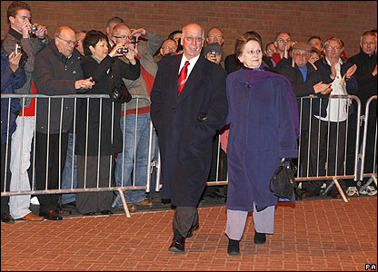 Sir Bobby Charlton and his wife Lady Norma Charlton arrive at Old Trafford