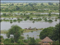 Flood waters in Mutarara, Mozambique