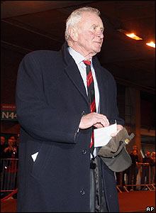 Harry Gregg arrives at Old Trafford