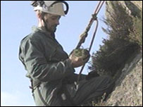 Abseilers are planting junipers in the Lake District