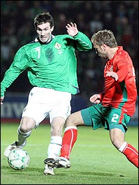 Northern Ireland's Keith Gillespie and Mihail Venkon of Bulgaria