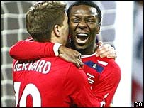 Shaun Wright-Phillips celebrates his winner for England