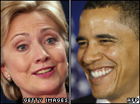 Composite image, Hillary Clinton and Barack Obama