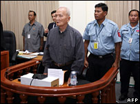 Nuon Chea in the dock on 7 February 2008