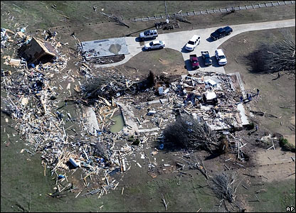Tornado damage in Lawrence County, Alabama