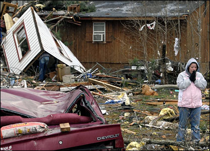 Tornado damage in Atkins, Arkansas