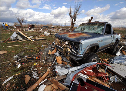 Tornado damage in Holland, Kentucky