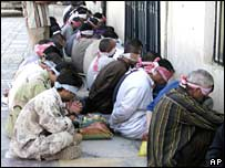 Suspected insurgents being held by US forces in Mosul in September 2007