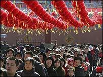 Chinos celebrando el año de la Rata en Pekín, 7 de febrero 2008