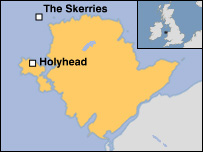 Map showing Anglesey and the Skerries