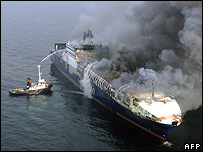 Burning Turkish cargo ship