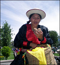A Peruvian woman with potatoes