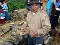 A man with potatoes in Peru