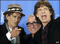 Keith Richards and Mick Jagger with Martin Scorsese