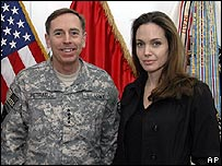 Angelina Jolie with the top U.S. commander in Iraq, Gen David Petraeus, in Baghdad
