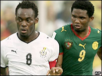 Michael Essien and Samuel Eto'o