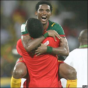 Eto'o celebrates victory
