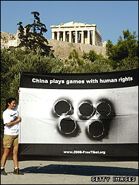 Members of the organisation 'Free Tibet' protest in front of the Parthenon in Athens