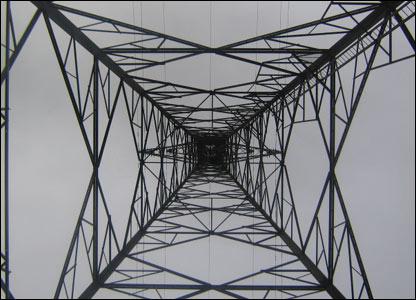 Looking up the inside of a pylon