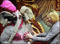 Charlize Theron (right) with elephant actor