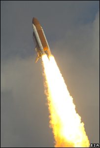 Shuttle launches with Columbus (Esa)