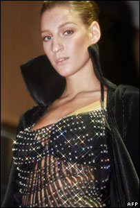 A model wears a top studded with diamonds with a total of 300-carats