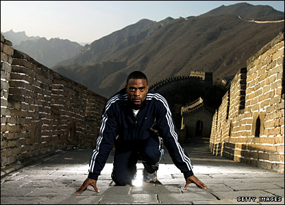 Image showing Tyson Gay on the Great Wall of China